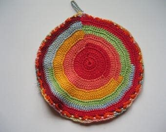 REDUCED - 1940's Vintage Multi-coloured Crocheted Pan Holder