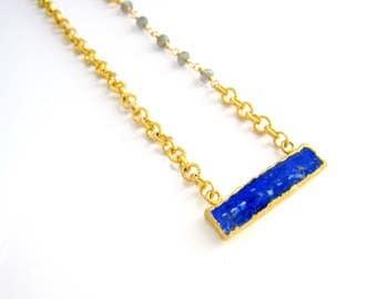 Lapis Bar Necklace, Minimalist Jewelry, Lapis Lazuli Necklace, Labradorite, Textured Chain