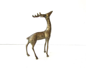 Vintage Brass Deer figurine - Brass Sculpture - Deer Sculpture Paperweight - Reindeer - Stag -