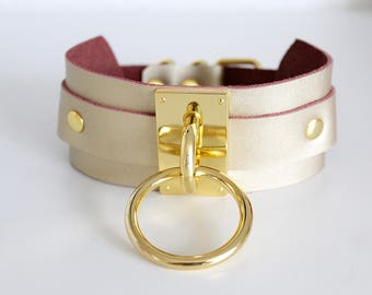 Leather Collar Choker Gold Ring