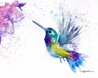 original watercolour hummingbird print or greeting card by artist be coventry wildlife animal art free