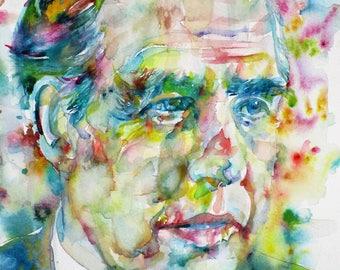 NIELS BOHR - original watercolor portrait - one of a kind!