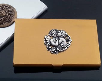 Business Card Holder - Business Card Case - Credit Card Holder - Cherub Case - Metal Wallet - Gift for Her - Dawn Santucci - Metal di Muse