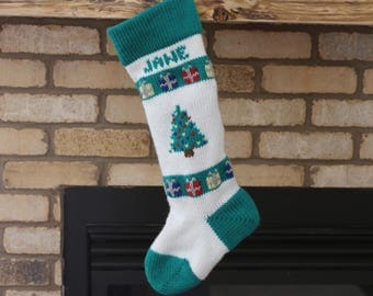 Personalized Knitted Christmas Stocking Christmas Tree