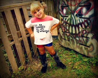 Suicide inspired Harley shorts and t shirt set  kids Squad Lil miss Quinn