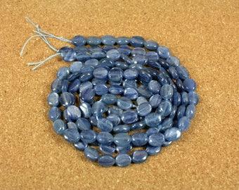 Blue Kyanite Oval Beads - Smooth Shiny Kyanite Beads, 10x8mm, 16 inch strand