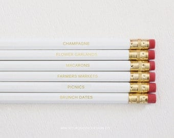 Set of 6 Engraved Pencils - Personalized Pencils, Quote Pencils, White Pencils, Pencil Quotes, Custom Pencils, Wedding Favors, Gold Pencils