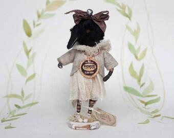 Primitive Folk Art OOAK crow art doll spun cotton figurine