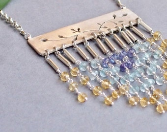 "Sterling Silver necklace with citrine-blue topaz-tanzanite fringe ""Lady of the Sun"""