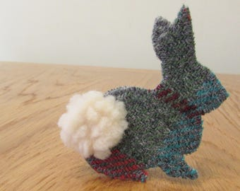 Green Harris Tweed Bunny Brooch / Rabbit Pin