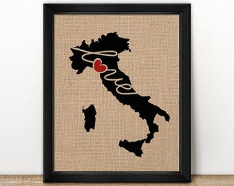Italy Love - Burlap or Canvas Paper State Silhouette Wall Art Print / Home Decor (Free Shipping)
