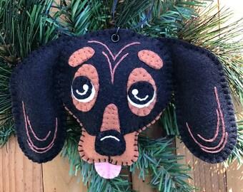 Wool Felt Dachshund Dog Head Ornament Hanger