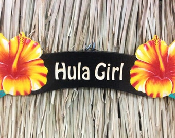Hula Girl Red or Yellow Hibiscus Wood Sign