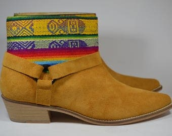 LEATHER ETHNIC BOOTS, Size 41, Brown Boots, Ethnic Boots, Spanish Boots, Camel boots