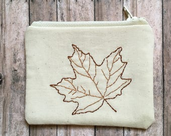 Maple Leaf Coin Purse, Embroidery