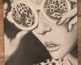 Retro Lovelace blonde girl with lace sunglasses graphite drawing- vintage sunglasses