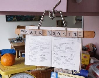 "Recipe holder hanger, Scrabble letters ""What's Cooking""   Free U.S. shipping."