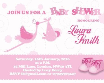 Downloadable/Printable Personalised Girl Baby Shower Invitations & Announcements