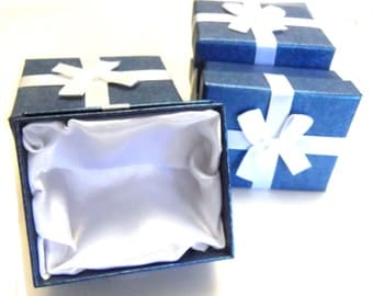 Destach Rectangle Blue Gift Boxes with White Satin Bow and Satin Lining Set of 10 Boxes