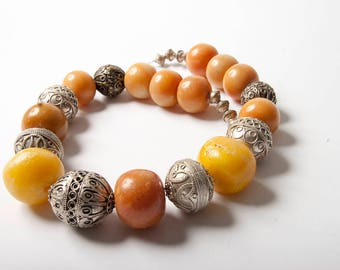 Faux amber and metal bead Moroccan necklace.