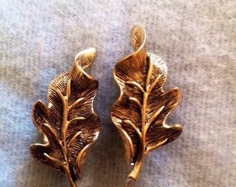 Signed Oscar de la Renta Clip-on Silver Leaf Earrings