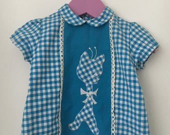 Blue white Plaid vintage top with cats network