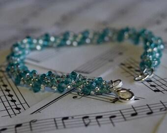 December Swarovski Spiral Birthstone Bracelet (Blue Zircon)