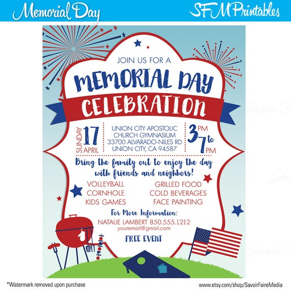 Memorial Day Celebration Firewoks Independence Day Invitation