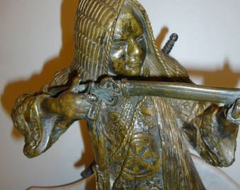 Antique Japanese bronze soldier sculpture with rifle circa 1880