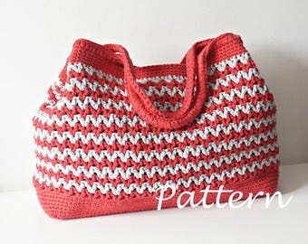 CROCHET PATTERN Crochet Bag Pattern Tote Pattern crochet purse  woman bag, shopping bag, summer bag beach bag, handbag, crochet shoulder bag