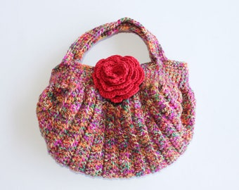 Mini purse cotton crochet with red flower