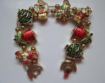 Enamel Christmas Charm Slide Bracelet