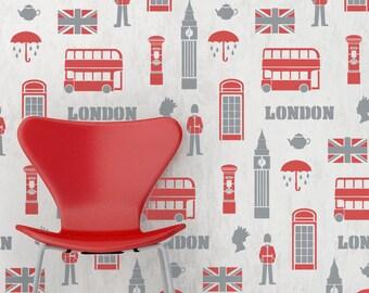 LONDON Wallpaper Repeat Wall Stencil - LO001