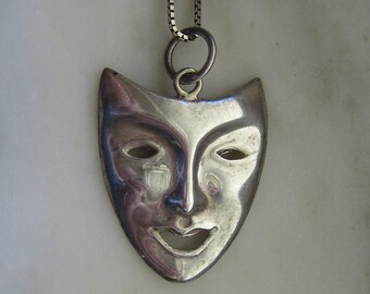 Vintage Sterling Silver Theatrical Comedy Mask Pendant & Chain