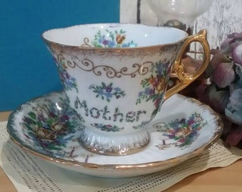 Vintage 1930s Mother's Day MOTHER Teacup Tea cup and saucer Made in Japan