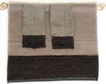 gray decorative towels set of 3 black lace decorated towels guest bathroom decor idea master bath - Decorative Towels