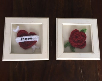 Set of Two Crocheted Tattoo Flash Pieces in Shadow Boxes