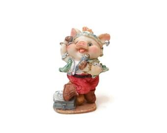 Vintage '80s Punk Rock n Roll Resin Pig Figurine Happy Piggy Mohawk Rocker Musician Singer