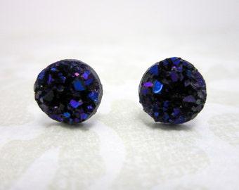Purple druzy Stud Earrings,  surgical steel studs, surgical steel earrings, homemade jewelry, black druzy earrings, homemade earrings