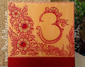 12x12 red and gold om henna painting