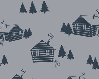 Cabin in the Woods in Knit, Homestead Life Collection, BOLT by Girl Charlee, Made in USA, Cotton Jersey Knit Fabric 5639