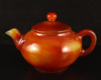 N3200 Beautiful Color Chinese Red Agate Teapot