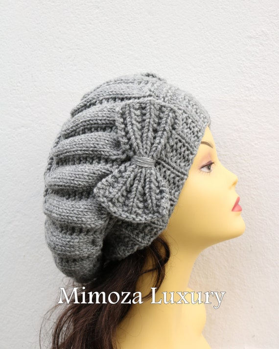 Gray Woman Hand Knitted Hat with Bow, Grey Beret hat with bow, gray knit hat, slouchy knit women's hat with bow, winter hat, grey women hat