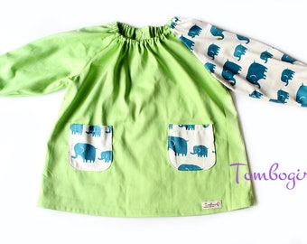 Kids Art smock, Apron, Long sleeve, with pockets, cotton art smock, Australian made - Elephant