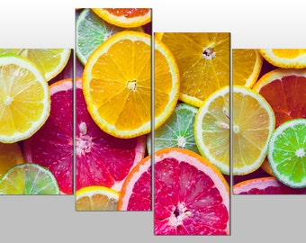 Citrus Fruit Orange Lemon Lime Large SPLIT PANEL 4 Panel CANVAS Wall Art Image