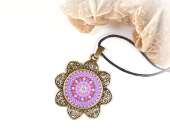 Gift idea yoga teacher or expectant mothers, Valentine's day gift, talisman necklace mandala, well being religious jewel, under 20 dollars.