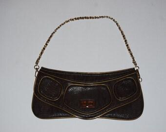 Vintage Faux Snakeskin Leather Clutch / Shoulder Bag