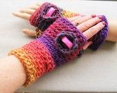 Winter Autumn Spring  crochet Fingerless Mitts-mittens, wool, acrylic,  S/ M, yellow,orange, pink, burgundy Christmas gift, women gift
