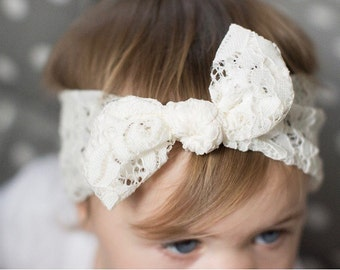 Cream Cotton Lace top knot - baby headband lace newborn headwrap - infant cream lace turban