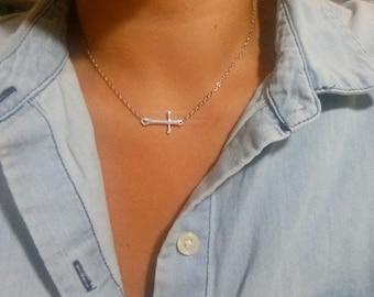 Celebrity Necklace - Kelly Ripa Celebrity Sideways Cross Necklace - Celebrity Necklace